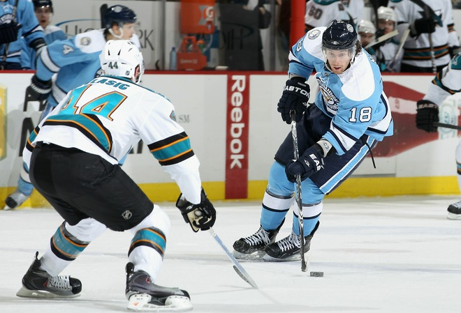 Pens Fall to Sharks 3-2…Earn Point On Late Kennedy Goal