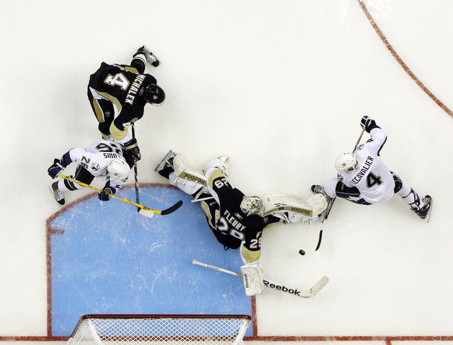 Fleury serves as ultimate equalizer in Pens' 3-0 win over Tampa Bay in playoff opener